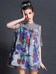 2015 Spring New Women's Vintage Beading Loose Casual Fashion Party Large Size Patchwork Mini Dress