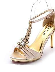 Women's Shoes Synthetic Stiletto Heel Peep Toe Sandals  with Crystal Wedding Shoes