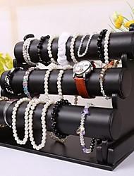 trois couches de la boîte à bijoux de bois et de cuir femmes