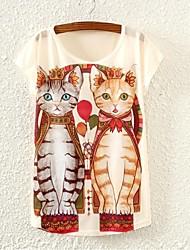 Damen Einfarbig T-shirt Sommer Kurzarm Weiß Dünn