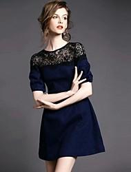 Women's Round Collar Lace Patchwork A Line Denim Dress