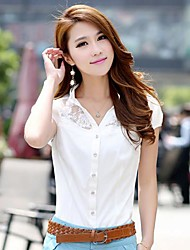Women's V Neck Lace Stitching Chiffion Short Sleeve Shirt