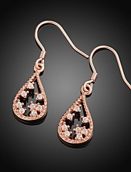 Fashion Water-Drop Rose Gold Rose Gold-Plated Drop Earrings(Rose Gold)(1Pair)