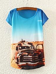 Women's Car Print Short Sleeve T-shirts