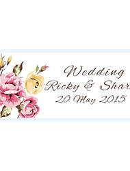 Personalized Wedding Product Labels Flower Pattern White Film Paper