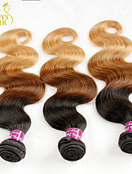 "3 Pcs Lot 14""-28"" Ombre Indian Virgin Hair Extensions Body Wave Three Tone Black Brown Blonde 1B/4/27# Human Hair Weaves"