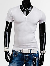 Informeel - Zuiver - Korte Mouw - MEN - Katoen/Polyester - T-shirts - Zwart/Blauw/Groen/Wit