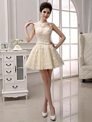 Коктейльное платье - короткое короткое короткое / мини кружево с аппликациями кружевное
