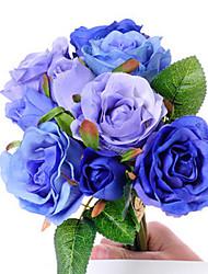 """11 """"l ensemble de neuf têtes 6 fleurs + 3 bourgeons printemps rose fleurs en tissu de soie bleu"""