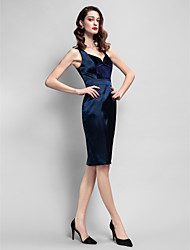 Cocktail Party Dress - Dark Navy Plus Sizes / Petite Sheath/Column Straps Knee-length Velvet / Stretch Satin