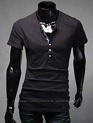 Männer bunte runde dünne Kurzarm-T-Shirt
