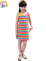 Girl's Striped Dress,Cotton Summer Black / Blue / Multi-color / Red / Gray