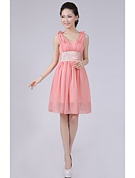 Short / Mini Bridesmaid Dress - A-line / Princess Straps with