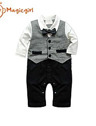 Boy's Spring Autumn Long Sleeve White Shirts + Vest + Bow + Pants Design Rompers Jumpsuits (Cotton)