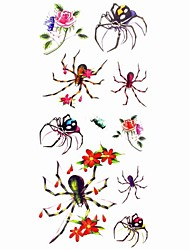 1pc Waterproof Women's Temporary Tattoos Back/Finger/Wrist Tattoos Spider Rose Collections Body Tattoos(18.5*8.5cm)