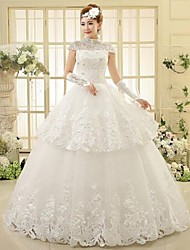 Ball Gown Ankle-length Wedding Dress -High Neck Lace