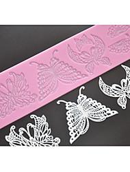 Vier c Silikon-Prägematte Schmetterlingsspitzeform, Backen Pad Spitzenmatte Werkzeuge verziert Farbe Rosa