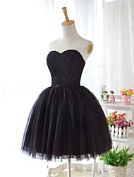 Knee-length Lace / Tulle Bridesmaid Dress - Black Ball Gown Sweetheart
