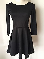 O M G   Women's European Solid Color Pleated Boat Neck 3/4 Sleeve Dress