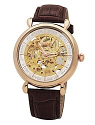 Time100 Men's Skeleton Apparent Space Automatical Genuine Leather Strap Mechanical Couple Watch(Assorted Colors)