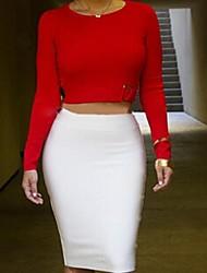 Women's Sexy Inelastic Long Sleeve Short T-shirt (Blouse & Skirt)