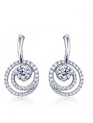 Stud Earrings Women's Silver Earring Cubic Zirconia