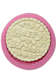 Round Happy Birthday Fondant Silicone Mold Cake Decorating Mould Chocolate Mould Silicone Cake Design Cake Tools