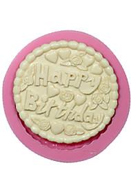 redondos feliz aniversário bolo molde de silicone molde de decoração do bolo de chocolate do molde de silicone ferramentas