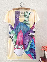 Women's O-Neck 2015 New Summer Fashion  Cotton T shirt cute Giraffe Style(Cotton Blends)