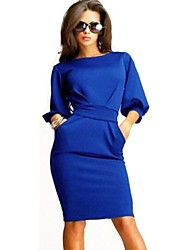 Women's Round Collar Bodycon Slim Dress(More Colors)