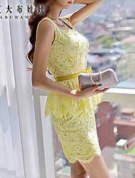 Women's Yellow Dress , Casual/Lace/Party Sleeveless