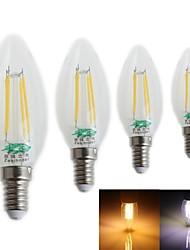 4 pièces Zweihnder E14 4W 4 LED Intégrée 380 LM Blanc Froid CA35 edison Vintage Ampoules à Filament LED AC 100-240 V