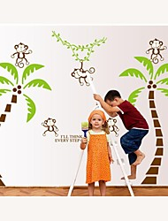 Wall Stickers Wall Decals, Style Coconut The Monkey on The Tree PVC Wall Stickers