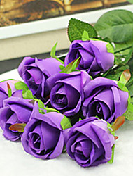"20""L Set of 2 Queen Rose Silk Cloth Flowers Purple"