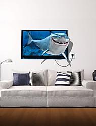 Adesivos de parede adesivos de parede 3d, parede tubarão decoração adesivos de vinil