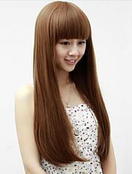 Angelaicos Womens Super Model Style Straight Natural Looking Nightclub Charming Halloween Full Wigs Long Brown Black
