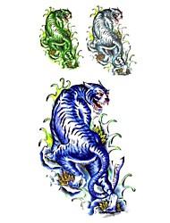 1pc Fashion Waterproof Temporary Tattoos Arm/Leg/Neck Tattoos Blue Big Tiger Body Tattoos(18.5cm*8.5cm)