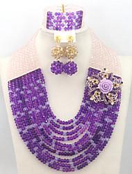 African Wedding Bridal Necklace Bracelet Earring Set Crystal Beads Jewelry Set AC010