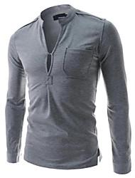 Informeel - Zuiver - Lange Mouw - MEN - Katoen/Polyester - T-shirts - Zwart/Wit/Grijs