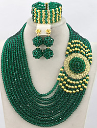 Nigerian Wedding Beads Jewelry Set African Women Gold Plated Bridal Jewelry Set 2015 Best Selling