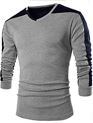 Men's V Neck Casual Splicing Long Sleeve T-Shirts
