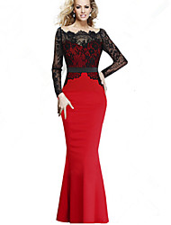 Women's Lace Splicing Formal Long Sleeve Fishtail Bodycon Dress