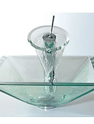 Square Transparent Tempered Glass Vessel Sink with Waterfall Faucet ,Pop - Up Drain and Mounting Ring