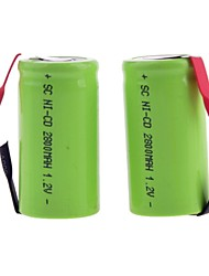 2800mAh 1.2V SC-type Rechargeable NiMH Battery (2pcs)
