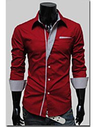White Men's Fashion Personality Slim Stripes Long Sleeve Shirt