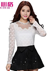 2015 Hitz hollow collar long-sleeved lace stitching bottoming shirt female t-shirt lady blouse