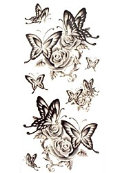 1pc Waterproof Temporary Tattoos Neck/Back/Arm/Finger Tattoos Glitter Butterfly Rose Body Tattoos(18.5cm*8.5cm)