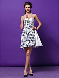 vestido de cóctel del regreso al hogar - imprimir una línea / princesa cariño corto / mini satinado