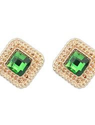 Women's EU&US Fashion Glass Square Ruili Stud Earrings