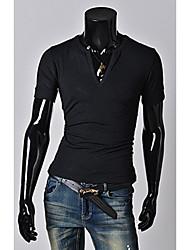 T-Shirts ( Coton mélangé ) Bodycon/Informel/Travail Col V à Manches courtes